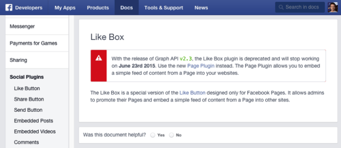 2015年6月23日でFacebook Like Boxは終了