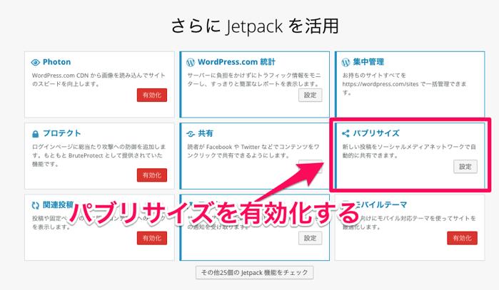 JetPackで自動シェアの有効化