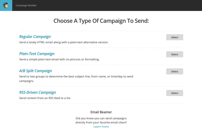 MailChimpでメール作成