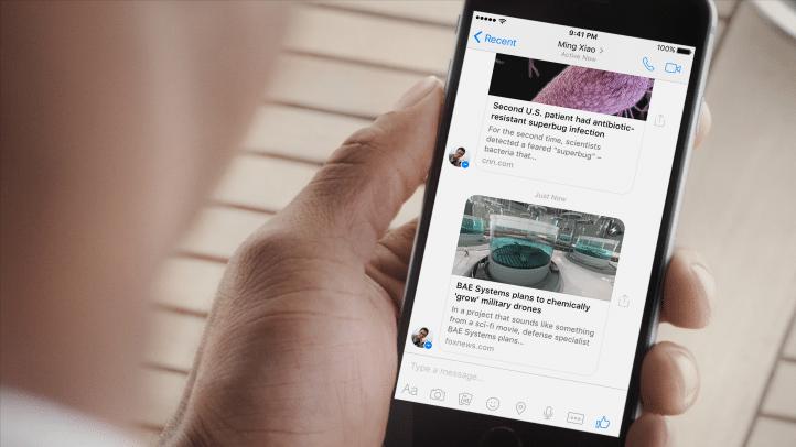 月間利用者10億人を超えたFacebookメッセンジャーがインスタント記事に対応