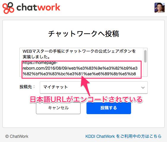 チャットワークで日本語URLがエンコードされた
