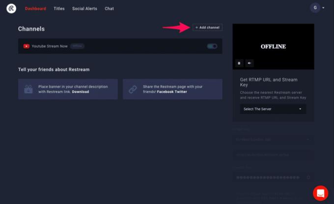 Restream.ioにYouTubeチャンネルが追加された