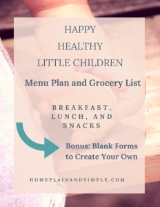 Little People Menu Plan