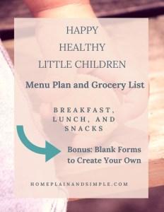 Little People Menu Plan