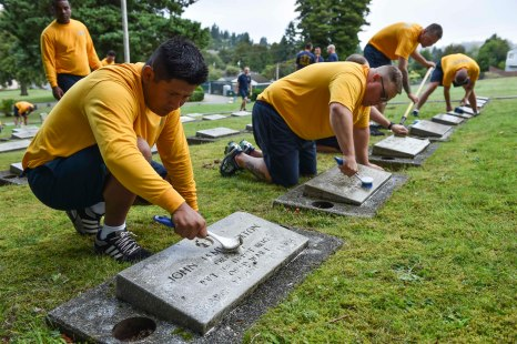 160816-N-OO032-026 BREMERTON, Wash. (Aug. 16, 2016) – Chief Aviation Maintenance Administrationman (Select) Dylar McCulley (left), from Kenmore, Washington, and stationed with USS Nimitz (CVN 68), cleans a head stone alongside fellow Pacific Northwest chief petty officer selects during a community relations event at Ivy Green Cemetery as part of the USS Turner Joy (DD 951) Legacy Academy. The academy entails living aboard the Vietnam-era destroyer while participating in community relation projects, ship preservation, leadership training, and a naval heritage capstone project. The Turner Joy is one of four naval memorial in the U.S. to host legacy academies, the other three being the Iowa-class battleship USS Missouri (BB 63), USS Midway (CVB/CVA/CV 41) and USS Constitution, a wooden hulled, three-masted heavy frigate and oldest commissioned warship in the world. (U.S. Navy photo by Mass Communication Specialist 1st Class Cory Asato/Released)