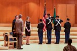 TACOMA, Wash. (Nov. 11, 2016) Members of the Lute Battalion, Reserve Officers' Training Corps color guard salute the Ensign while The Star-Spangled Banner plays during a Veterans Day ceremony at the Mary Baker Russell Music Center. Capt. Alan Schrader, Naval Base Kitsap's commanding officer served as the guest speaker for the celebration which was hosted by Pacific Lutheran University. (U.S. Navy photo by Petty Officer 2nd Class Vaughan Dill/Released)