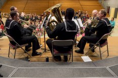 161214-N-ZP059-028 SILVERDALE Wash. (Dec. 14, 2016) Navy Band Northwest's Brass Quintet performs a holiday concert at Central Kitsap Middle School for parents, students and staff. This was the first time that the Brass Quintet has played at Central Kitsap Middle School. (U.S. Navy photo by Petty Officer 2nd Class Jacob G. Sisco/Released)