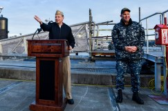 170127-N-SH284-208 BREMERTON, Wash. (Jan 27, 2017) Capt. Brian Humm, commodore, Submarine Squadron 19 addresses the audience as USS Olympia (SSN 717) arrives at Naval Base Kitsap-Bremerton, visiting the Pacific Northwest for the first time since 1998. During their stay, crew members will tour their namesake, Olympia, Washington, where they will help the community through conducting COMRELs, and take a tour the capitol and the Olympia Yacht club. (U.S. Navy photo by Mass Communication Specialist 2nd Class Vaughan Dill/Released)