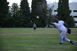 PORTLAND, Ore. (June 11, 2017) – A Sailor assigned to the Ticonderoga-class guided-missile cruiser USS Bunker Hill (CG 52) pitches during a softball game against Sailors from the submarine tender USS Frank Cable (AS 40), June 11. The Sailors are in Portland to take part in Portland Fleet Week and Rose Festival. The festival and Portland Fleet Week are a celebration of the sea services with Sailors, Marines and Coast Guard members from the U.S. and Canada making the city a port of call. (U.S. Navy photo by Mass Communication Specialist 3rd Class Josh Coté/Released)