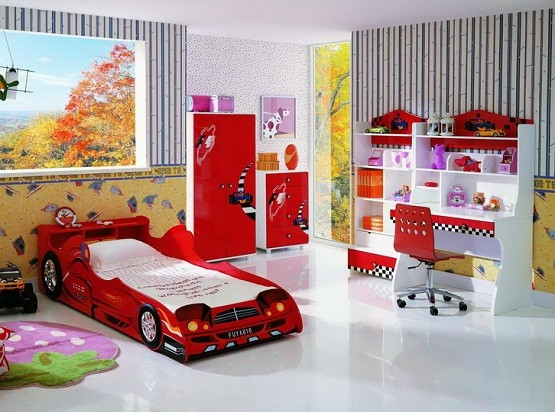 the complete -red & white- kids bedroom furniture sets for boys