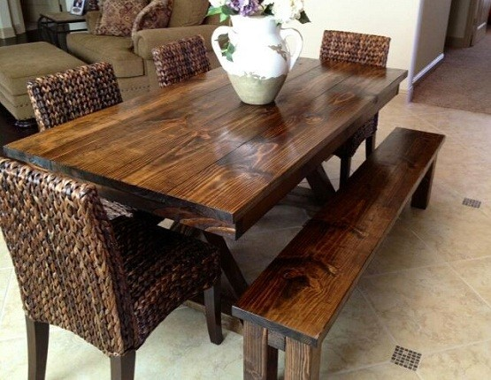 Farm Style Dining Room Table With Bench Dining Room Ideas