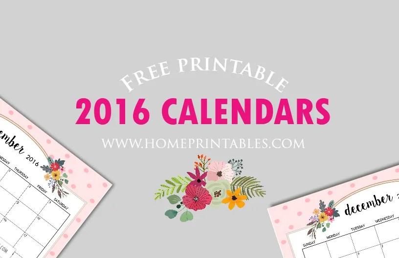 Cute Free Printable 2016 Calendars