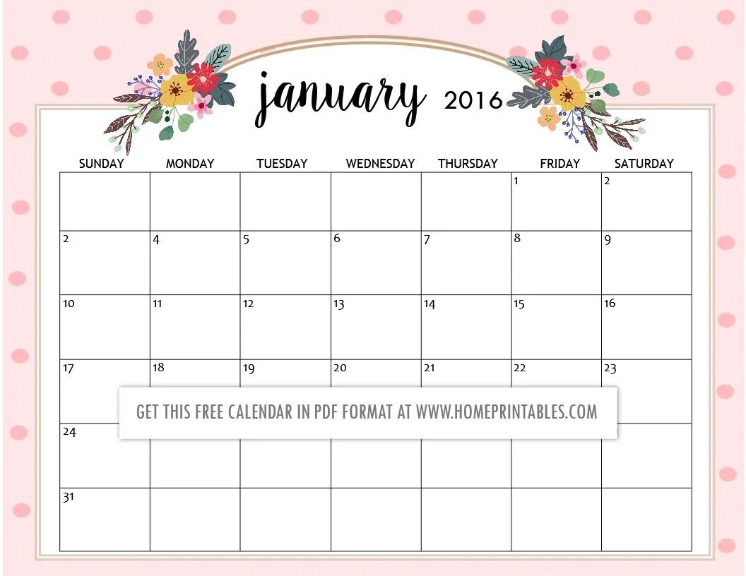 Cute Free Printable Calendars