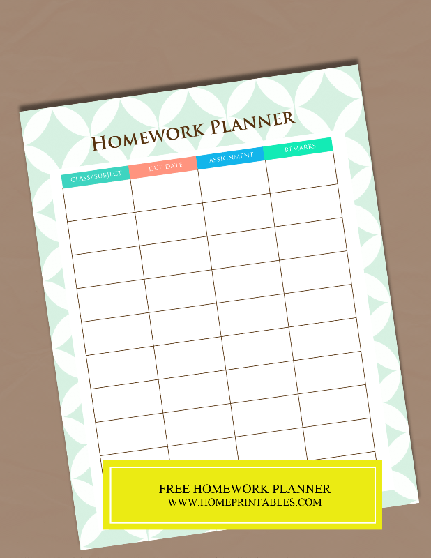 A Free Printable Homework Planner {It's pretty!}
