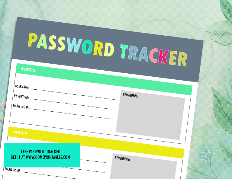 Free Printable Password Tracker (All Pretty!)