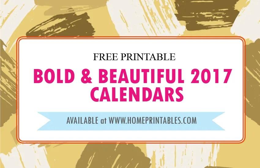 2017 Calendar Printable : Bold and Beautiful!