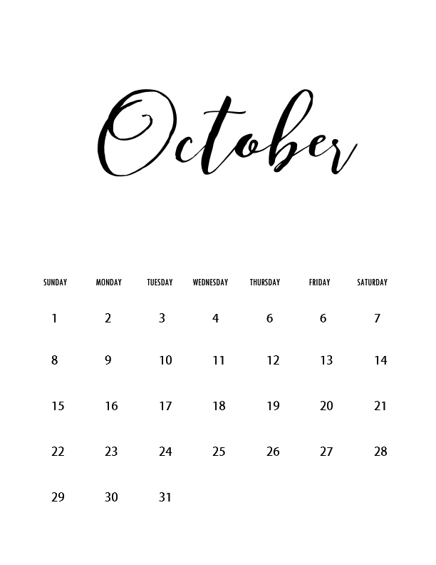 October 2017 calendar | full year pdf printable