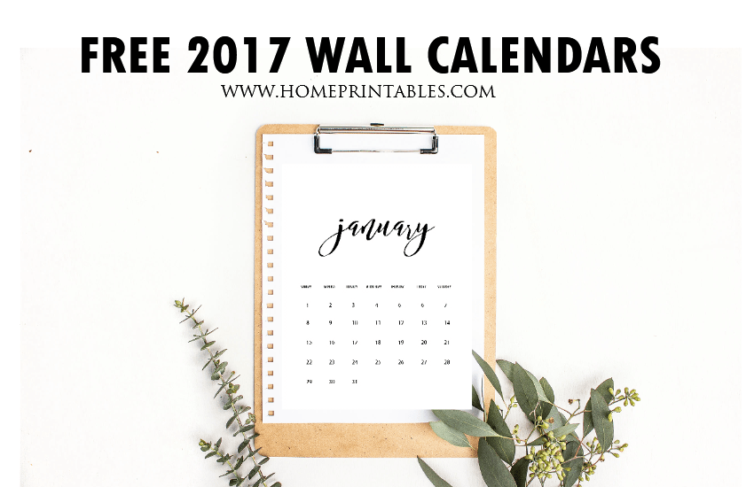 Free Wall Calendars 2017 Printable: Minimalist Style {New Design!}