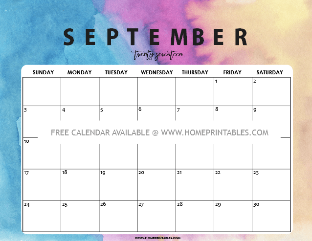Calendar September 2017: 8 Free Pretty Printables! - Home Printables