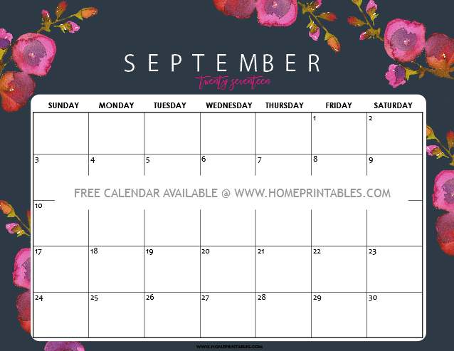 Calendar September 2017: 8 Free Pretty Printables!  Home Printables