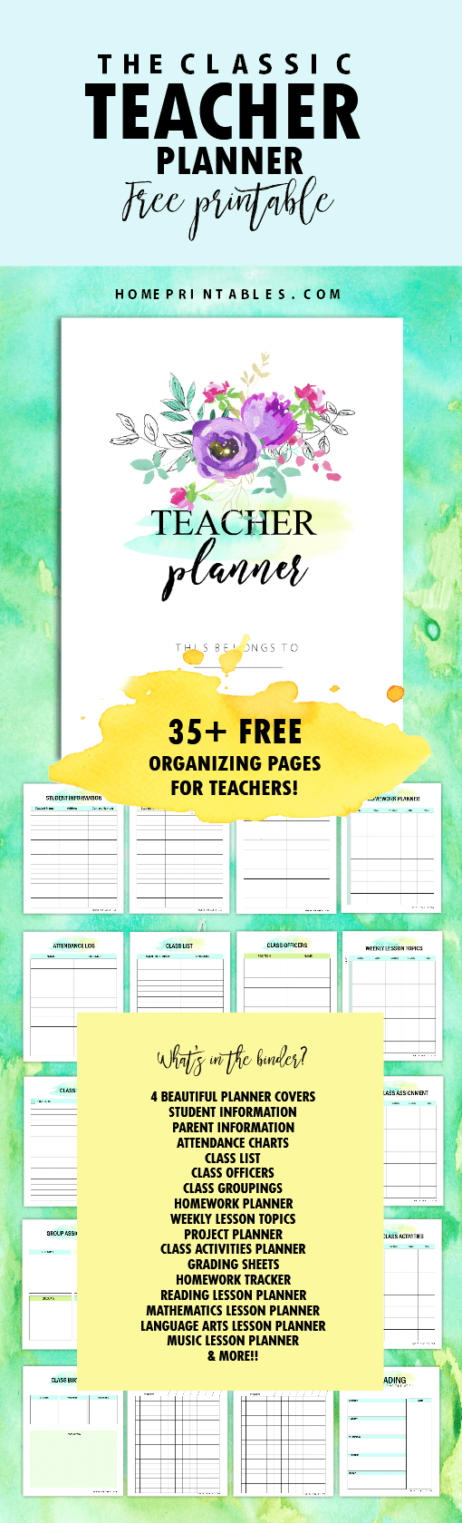 image about Free Printable Home Organization Worksheets identified as Absolutely free Instructor Planner Printables: 35 Planning Sheets
