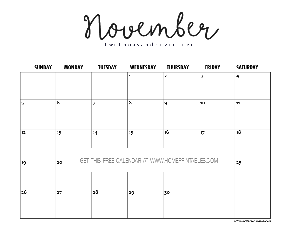 if you like to print a november calendar that is less on ink yet still cute in its simplicity you have to see this it has the cutest font in plain style