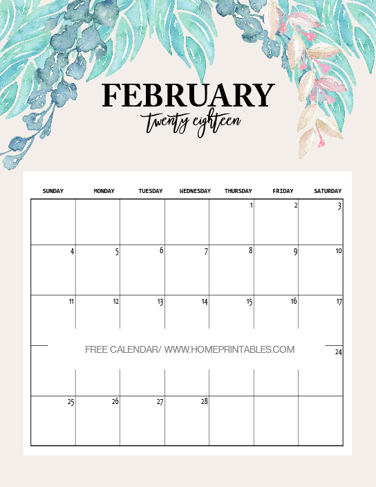 cute february 2018 calendar printable for kids