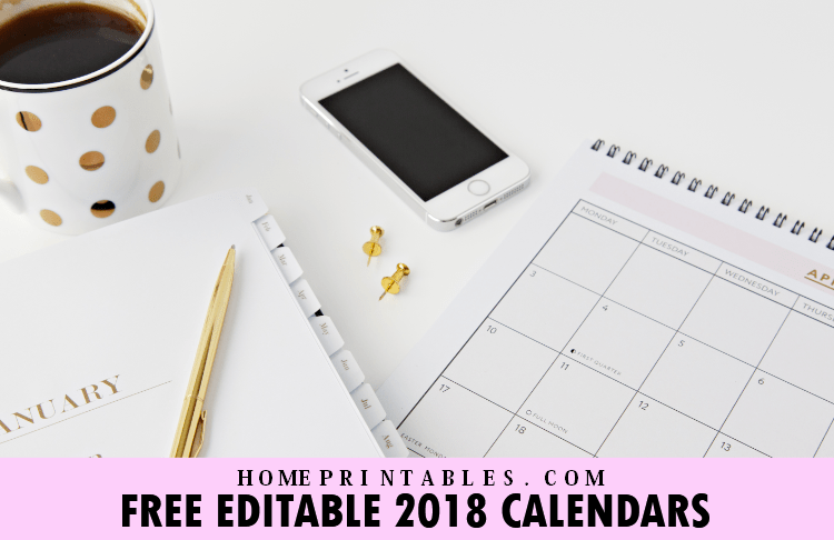 Free Beautiful Editable 2018 Calendar Template!