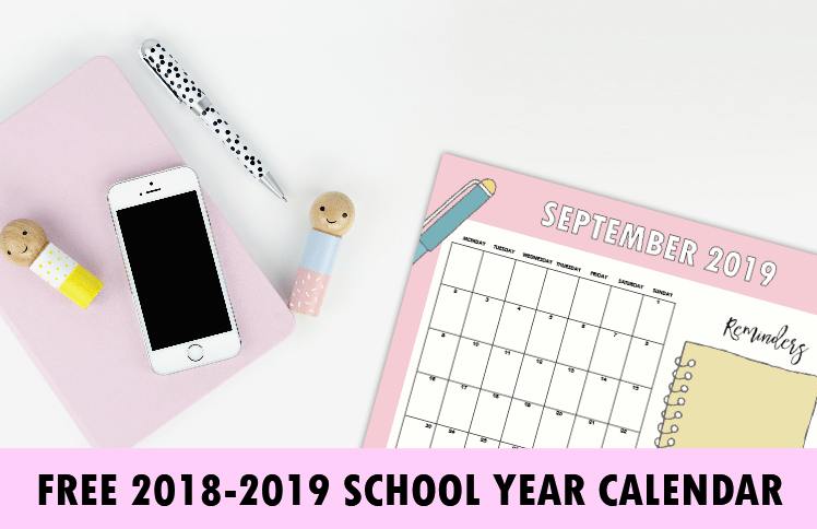 graphic relating to School Calendar -16 Printable referred to as Absolutely free Faculty 12 months Calendar for 2018 in direction of 2019 for Pupils and