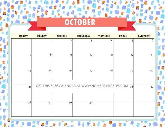 free printable October 2018 calendar cute