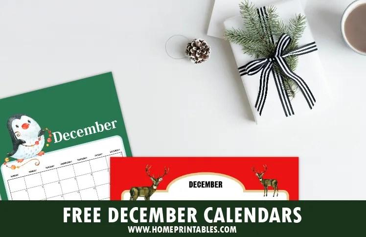 free printable December 2018 calendar and planner