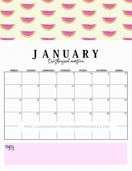 January calendar 2019 downloadable
