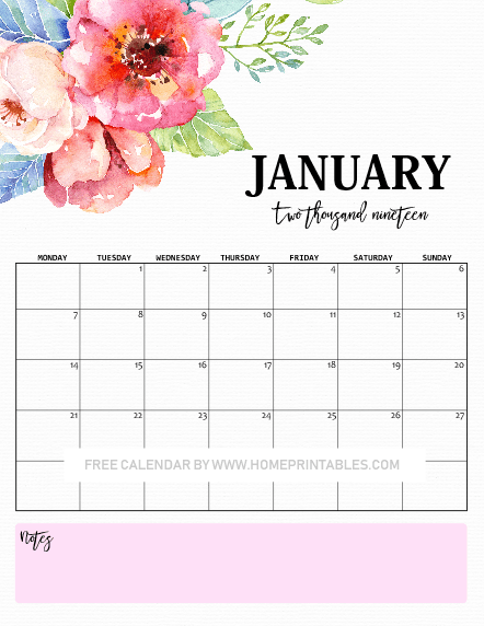 January calendar 2019 beautiful