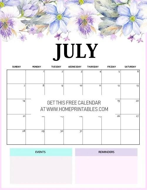 beautiful July 2019 calendar floral
