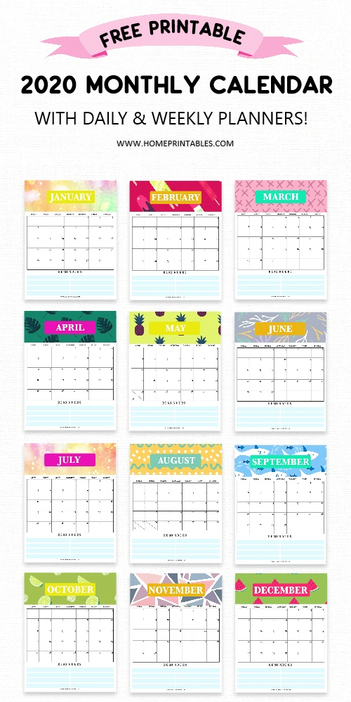 image regarding Cute Weekly Planner Printable named Absolutely free Calendar 2020 Printable with Weekly Planner: Hence Extremely