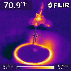 Bathroom sink, interesting photo, hot water was switched to cold creating cool center with warm outer ring