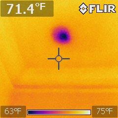 Past leak affected insulation at attic