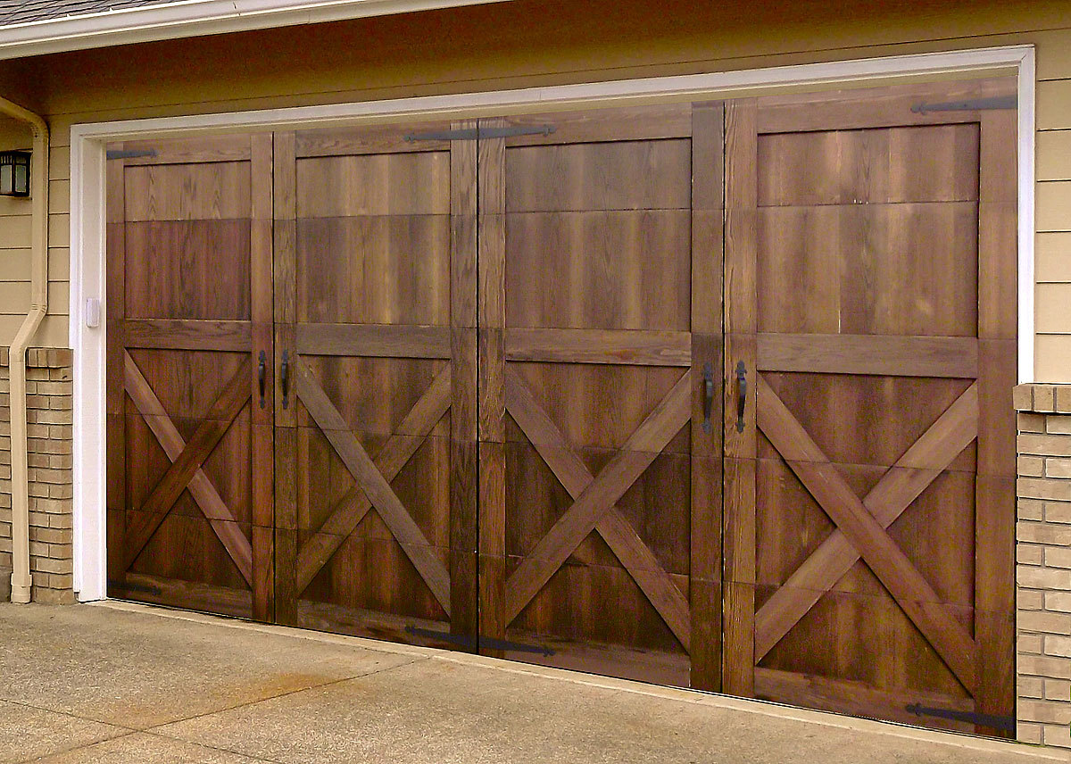 Reface your garage door with this wood veneer and make it for Garage door refacing
