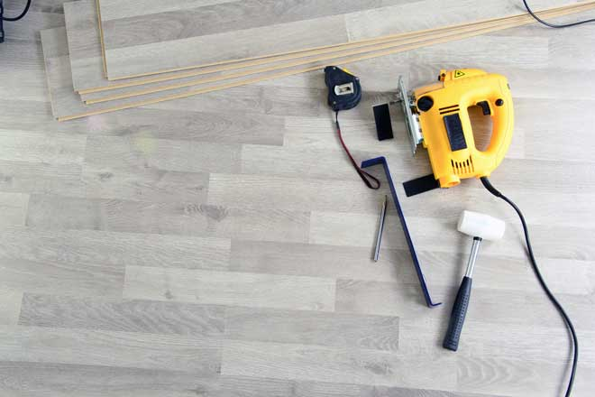 Installed Wood Floor with Tools