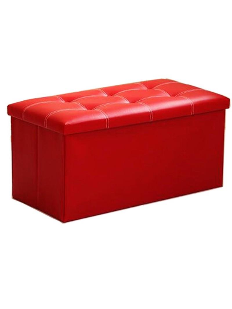 banc coffre rangement pliable rouge 76x38x38 cm homerokk