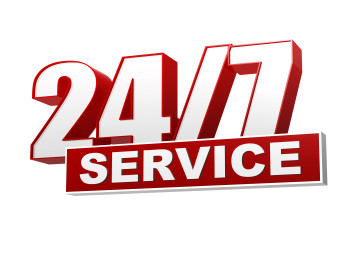 24/7 service red white banner – letters and block