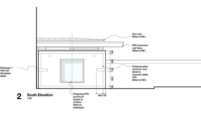 The side elevation of the extension, detailing the windows and roof.