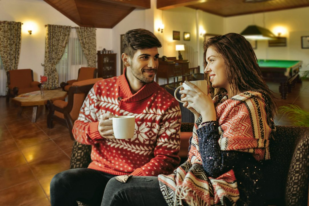 lovely couple drinking tea at Homes Bungalow Kandy