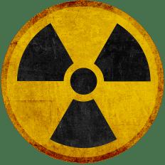 symbole de radioactivité évoquant l'arme atomique.