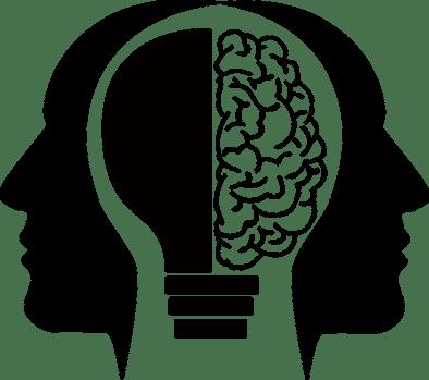 logo HomEscapeGame stories, concept d'escape game. Le logo représente deux visages dos à dos. Au milieu le cerveau est représenté par une ampoule. Cela représente le principe d'énigmes et l'ingéniosité dont il faut faire preuve dans un escape game.