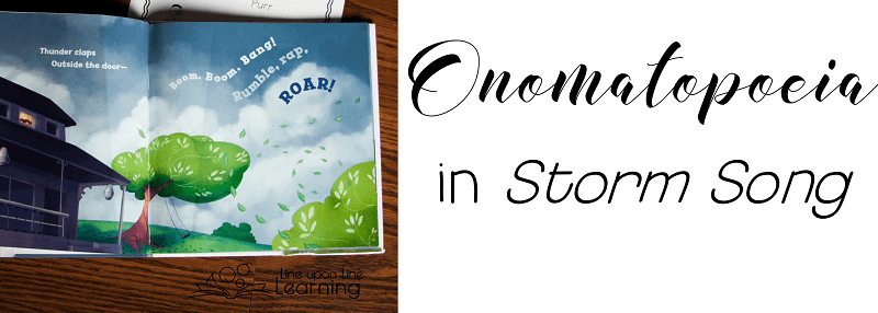 The picture book Storm Song provides ample opportunity to practice recognizing and understanding onomatopoeia. Lesson ideas and free printable provided.