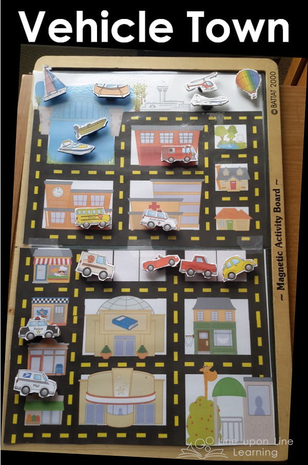 """Inspired by Cars and Trucks and Things that Go, the """"Does it Go?"""" sort keeps us laughing and the tiny vehicle town lets us move magnet vehicles around town. Great busy bag for preschool!"""
