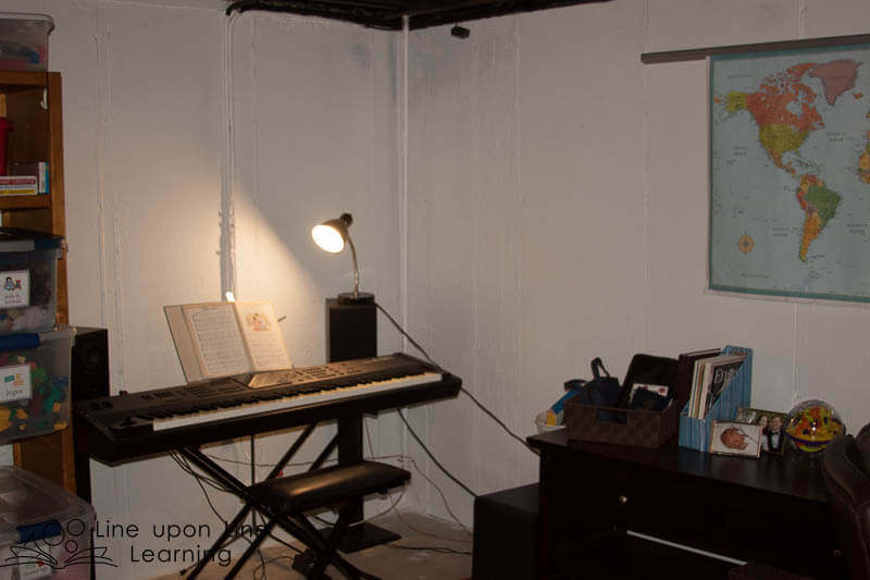 The music corner needs a little bit of TLC. I hope to put some music posters on the walls soon.
