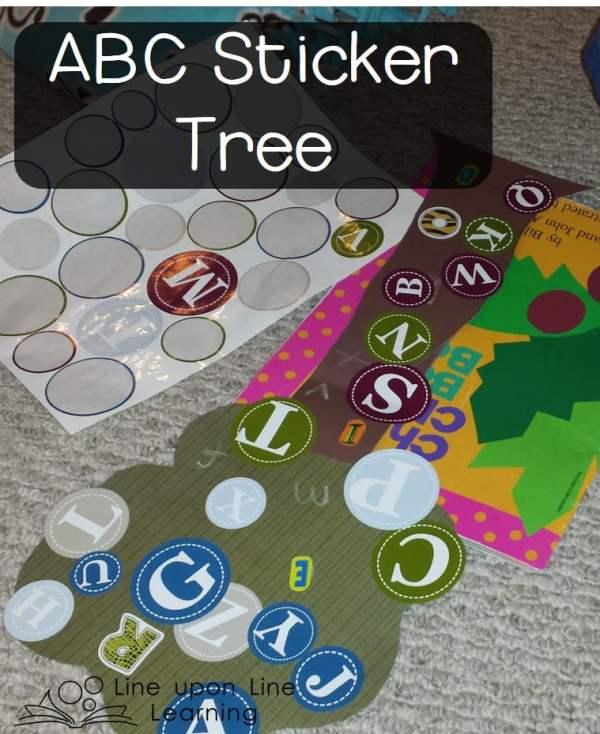 ABC Stickers + colored paper = sticker tree fun!