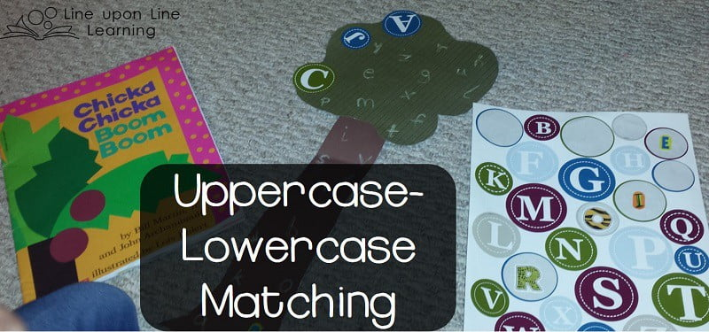 We practiced ABC uppercase-lowercase matching with ABC stickers on a simply made tree.
